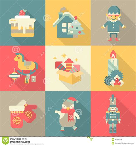 retro icons 20 free sets for vintage themed designs christmas chararters sweets new year icon set flat style