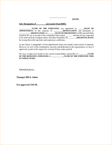 termination letter format with one month notice resignation letter correct sle for resignation letter
