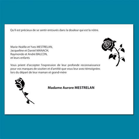 carte de remerciements d 233 c 232 s illustr 233 e avec des roses