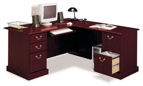 bush bennington l shaped desk bush saratoga l shape wood executive desk in harvest