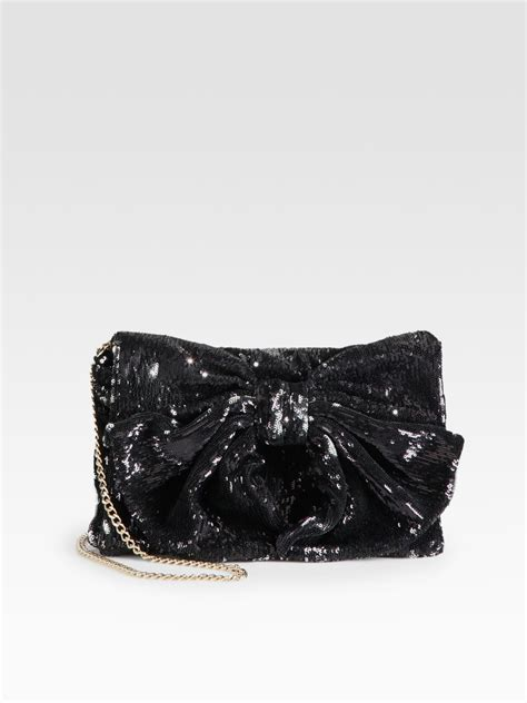 Valentino Gold Oversized Bow Clutch by Lyst Valentino Sequined Bow Clutch In Black