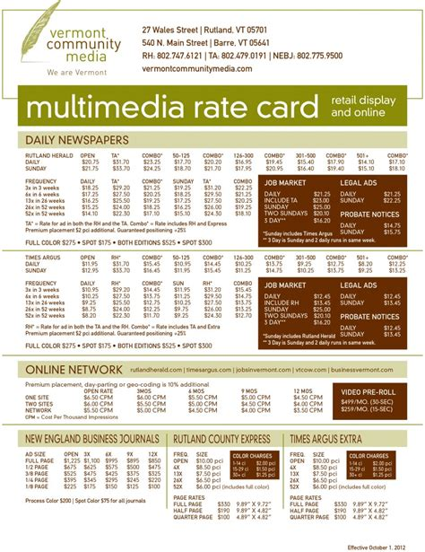 agency rate card template advertising rate card jyler