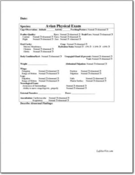 Avian Physical Examination Form 2 | LafeberVet