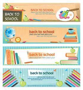 banner design of school set of school elements banners vector 05 vector banner