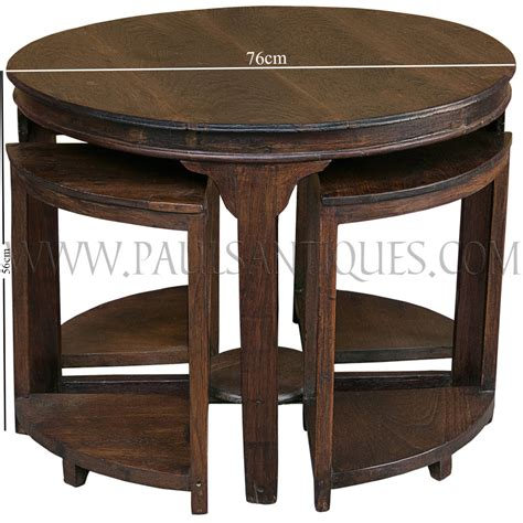 Center Coffee Table Burmese Teak Deco Center Table With Small Side Tables Stools