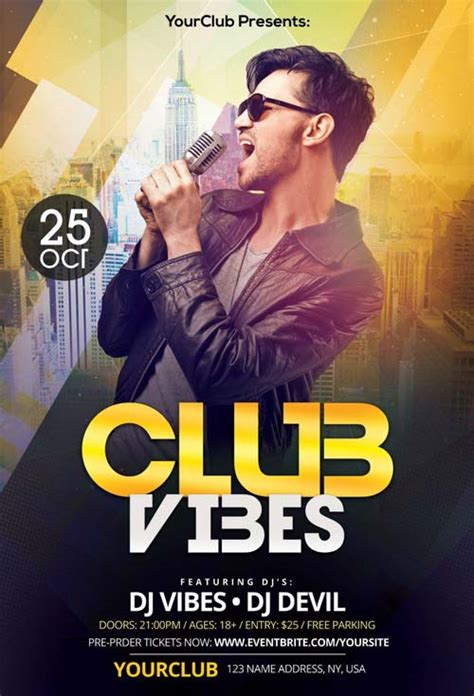 Club Vibes Night Free Psd Flyer Template Free Flyer For Electro Party And Club Events Club Flyer Templates Photoshop