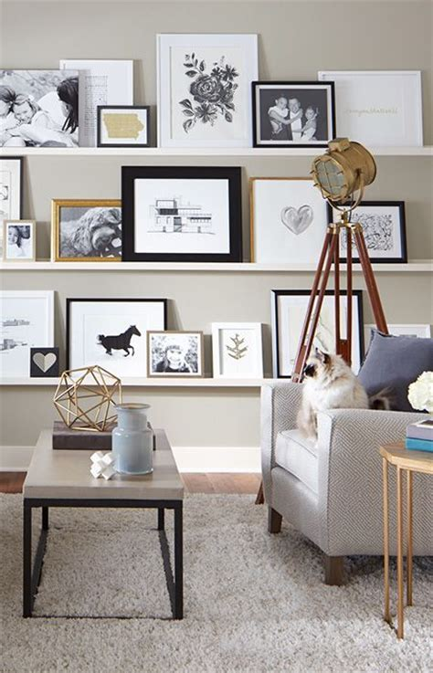gallery wall but change put shelf in middle and pictures 25 best ideas about wall shelves design on pinterest