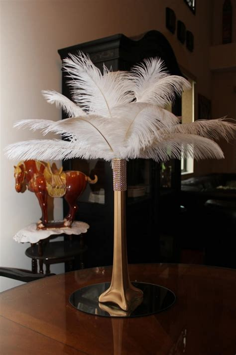 Gold Eiffel Tower Vases by Ostrich Feather Centerpiece 16 Quot Gold Eiffel Tower With