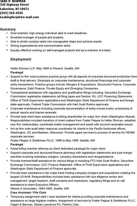 corporate paralegal resume sle paralegal resume templates free premium