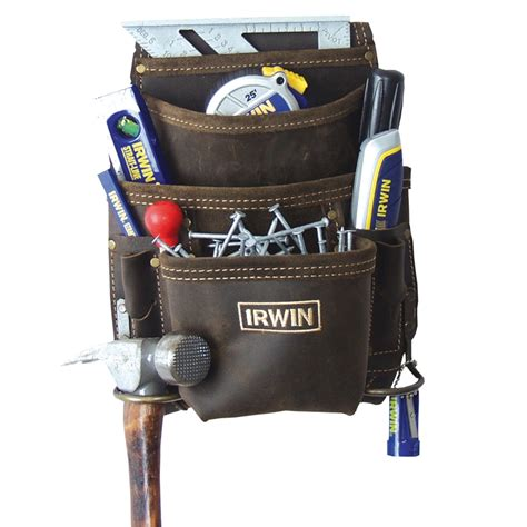 irwin 10 pocket leather nail and tool bag bunnings warehouse