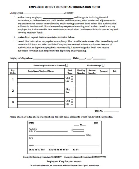 4 direct deposit form templates formats exles in