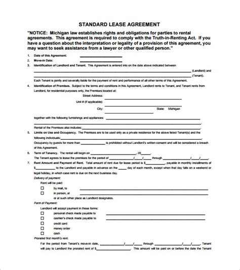 lease agreement template pdf 9 lease contract templates free word pdf documents