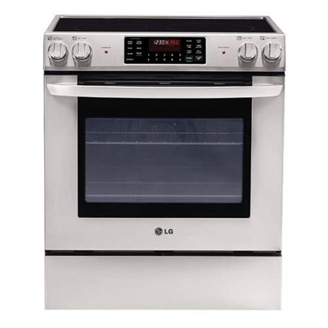 slide in range lg 30 quot stainless steel slide in electric range with 5 4 cuft self cleaning oven lse3090st