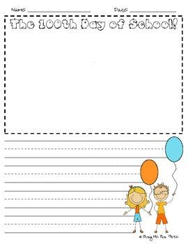 100th day writing paper activities school children and student on