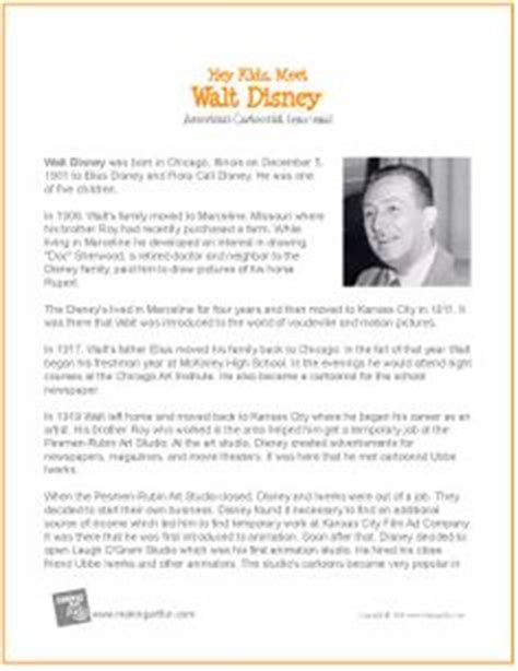 artist biography questions walt disney biography close reading comprehension passage