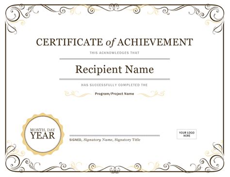 word template certificate of achievement certificates