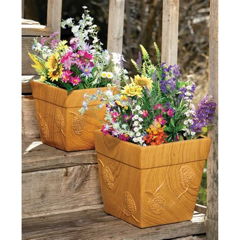 Square Ceramic Planter by Big Sky Carvers Square Ceramic Planter Set Set Of 2