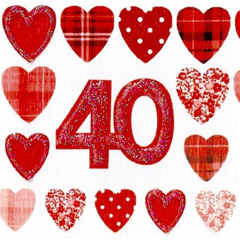 scottish ruby wedding anniversary card rows of hearts wwwe66