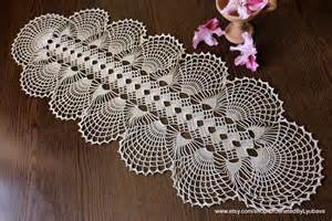 Flower Accent Table - crochet table runner handmade oval doily crochet tablecloth