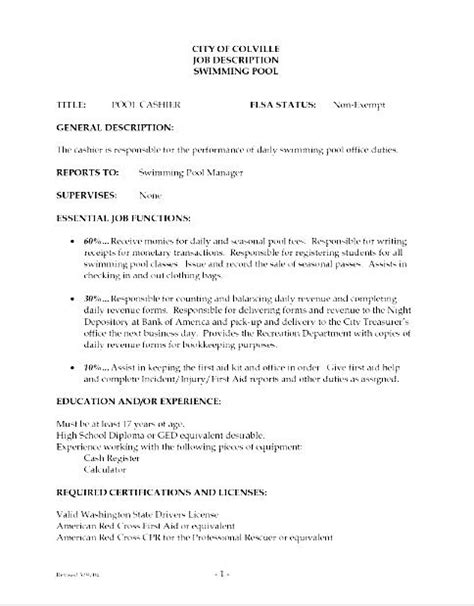 resume description cashier
