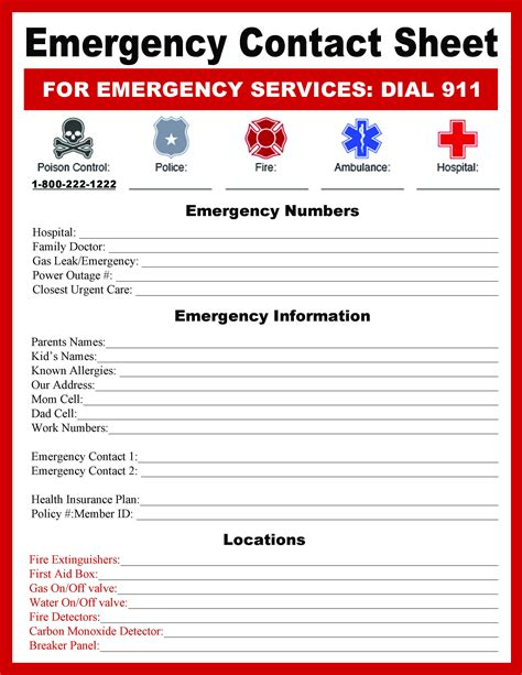 Emergency Numbers Card Template by Bugaboocity