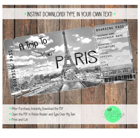 Printable Ticket To Paris Boarding Pass Customizable Template Digital File You Fill And Customizable Pass Template