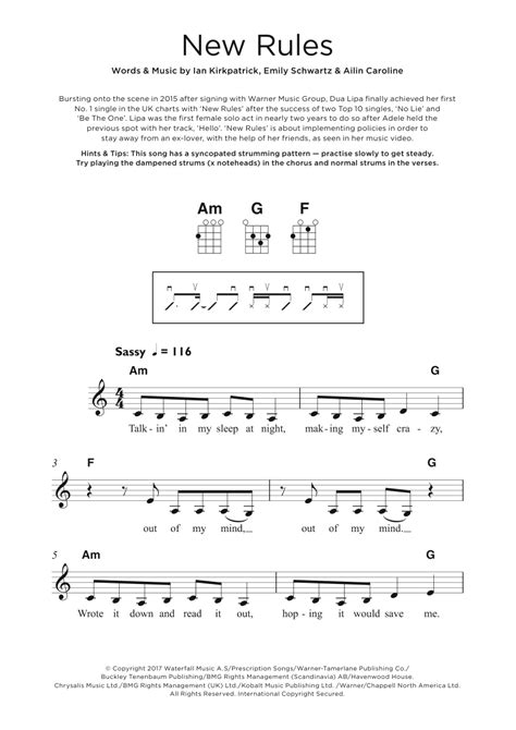 dua lipa new rules chords ukulele sheet music at stanton s sheet music