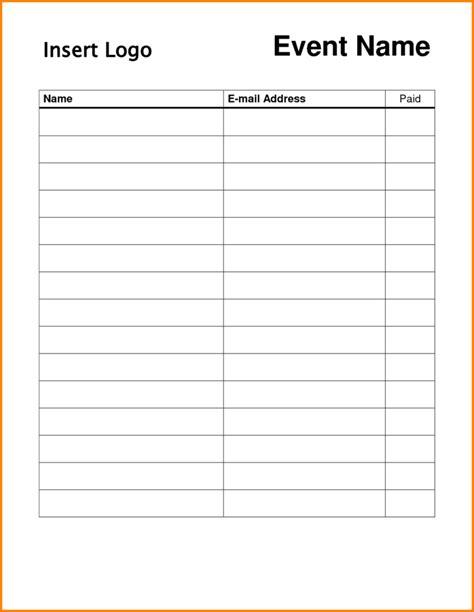 blank sheet template blank sign up sheet sles vlashed