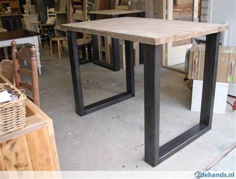hoge eettafel hout hoge tafel bartafel industrieel staal hout op maat