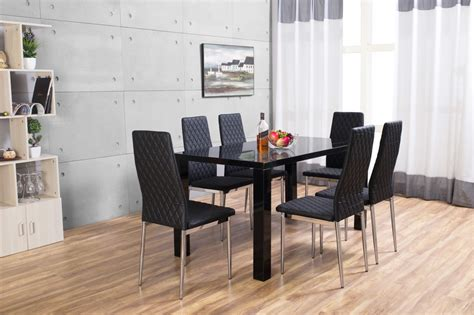 Pivero High Gloss Black Dining Set Furniturebox Black Gloss Dining Table And 6 Chairs