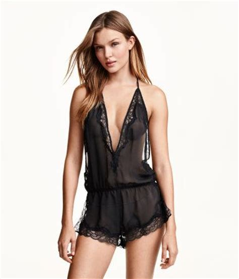 Set Sleeveless Playsuit Camisole low cut v neck jumpsuit in black chiffon with lace