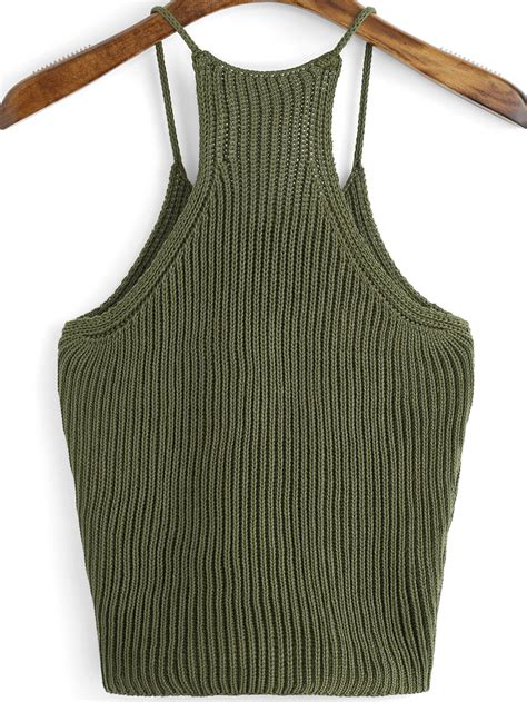 knitted tops ribbed knit cami top shein sheinside