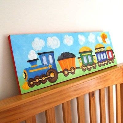diy train bedroom for kids the budget decorator train panel acrylic canvas painting boys love those