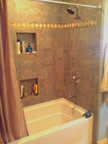 fiberglass tub with tile surround and shoo niches