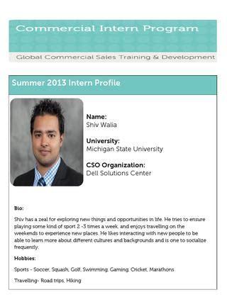 Dell Mba Internships by Shiv Walia Profile Resume By Dell Talent Capabilities