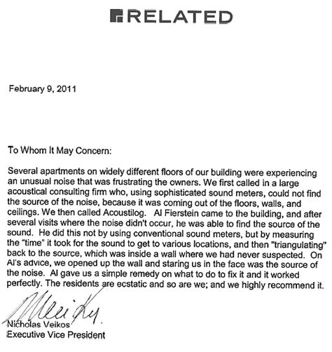 Financial Reference Letter For Co Op Acoustilog Incorporated Testimonial Letters