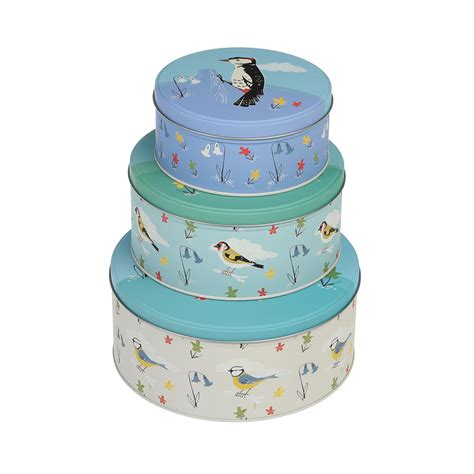 set of 3 novelty christmas cake tins set of 3 garden birds cake tins rex at dotcomgiftshop