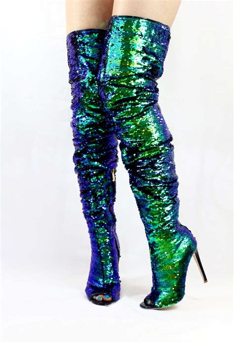 sequin sparkle mermaid wowtrendz open toe boots