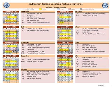Day Calendar School Day Calendar Southeastern Regional