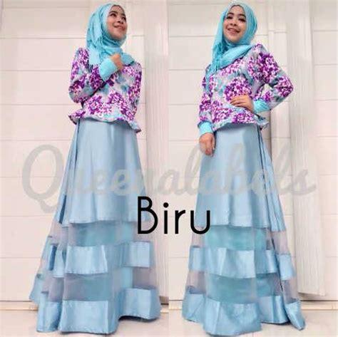 Gamis Terbaru Queena Mediva Vol 2 Biru Baju Muslim Gamis Modern