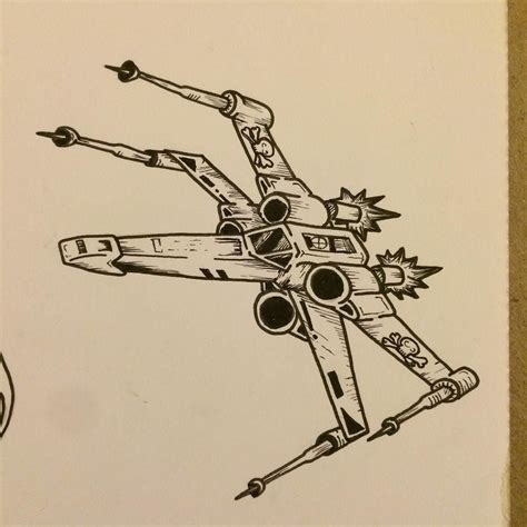 x wing tattoo x wing fighter sketch drawing pendrawing starwars
