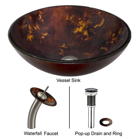 vigo glass vessel sink in brown and gold fusion with