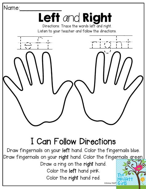 activities of kindergarten left and right listen to the teacher and follow the