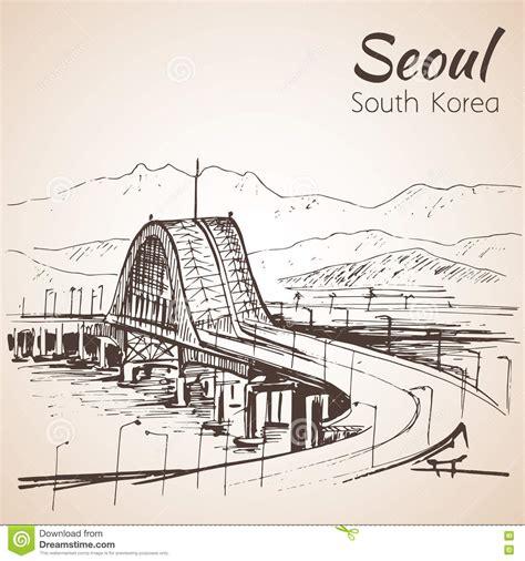 sketchbook korea hangang bridge seoul south korea sketch stock vector