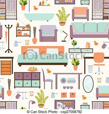 furniture clipart for floor plans eps vectors of house furniture pattern seamless