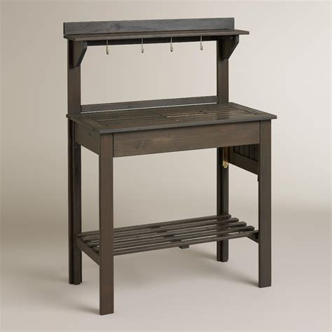 wood potting benches laguna gray wood potting bench world market