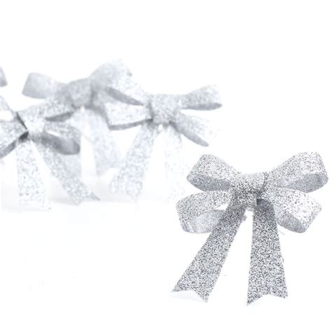 small silver glitter bows christmas ornaments