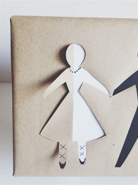 How To Make A Paper Doll Step By Step - diy paper doll bridal gift wrap modern