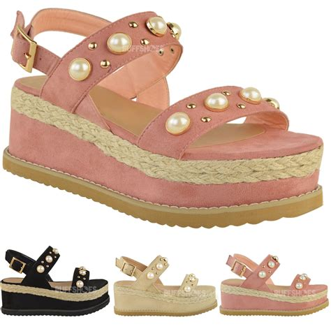 pearl sandals australia womens espadrille flatforms pearl wedge summer
