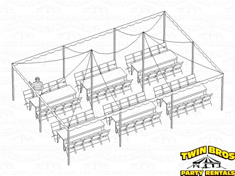 how many tables fit under a 20x20 tent 60 person tent rental package